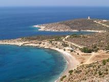 Playa de Tigani en Chios - Grecia foto de archivo