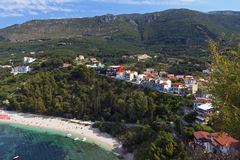 Playa de Valtos cerca de Parga en Grecia Imagen de archivo