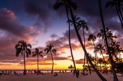 Playa de Waikiki - Hawaii imagen de archivo libre de regalías