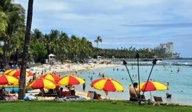 Playa de Waikiki, Oahu, Hawaii Imagen de archivo