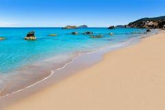 Playa del blanca Ibiza del Agua de Aiguas Blanques Foto de archivo libre de regalías