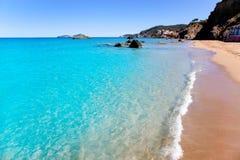 Playa del blanca Ibiza del Agua de Aiguas Blanques Fotos de archivo libres de regalías