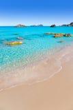 Playa del blanca Ibiza del Agua de Aiguas Blanques Imagen de archivo libre de regalías