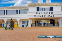 PLAYA DEL CARMEN, ΜΕΞΙΚΟ ΤΗΝ 1Η ΙΑΝΟΥΑΡΊΟΥ 2018: Είσοδος στο δημοτικό παλάτι στο Playa del Carmen, Riviera Maya, Μεξικό Στοκ φωτογραφία με δικαίωμα ελεύθερης χρήσης