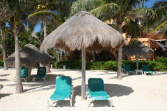 Playa del Carmen Beach in Mexico. Palapa in Playa del Carmen, South of Cancun - Mexico Royalty Free Stock Photos