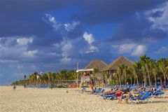 Playa del Carmen beach, Mexico. Playacar and Playa del Carmen beach, Mexico Royalty Free Stock Photos