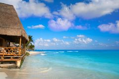 Playa del Carmen beach palapa in Mexico Stock Photography
