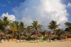Playa del Carmen beach resort, Mexico. Parasols and deckchairs in front of a beach resort in Playa del Carmen, Yucatan, Mexico Royalty Free Stock Images