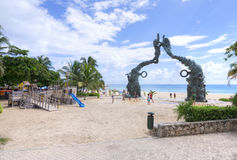 Playa del Carmen beachfront and playground Royalty Free Stock Images