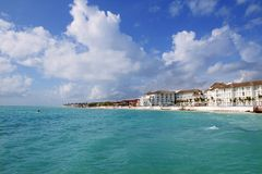 Playa del Carmen Caribbean turquaoise beach. Playa del Carmen Caribbean turquaoise sea beach blue sky Stock Photo