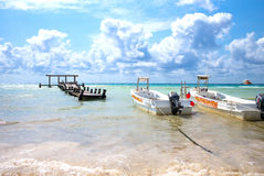 Playa Del Carmen, Mexico - April 16, 2016: Tourist boat  on the Royalty Free Stock Photography