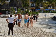 PLAYA DEL CARMEN, MEXICO - FEBRUARY 3 2017 - american tourists in playa del carmen mexico Royalty Free Stock Images