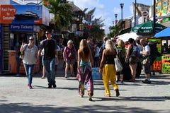 PLAYA DEL CARMEN, MEXICO - FEBRUARY 3 2017 - american tourists in playa del carmen mexico. Spending pesos in shopping street and beach stock photos