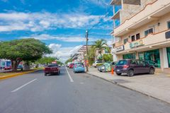 Playa del Carmen, Mexico - January 10, 2018: Outdoor view of some cars parked on 5th Avenue, the main street of the city. The city boasts a wide array of royalty free stock images