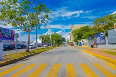 Playa del Carmen, Mexico - January 10, 2018: Outdoor view of 5th Avenue, the main street of the city. The city boasts a. Wide array of tourist activities due to stock images