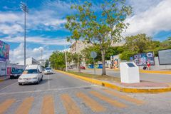 Playa del Carmen, Mexico - January 10, 2018: Outdoor view of 5th Avenue, the main street of the city. The city boasts a. Wide array of tourist activities due to stock photos