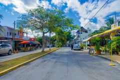 Playa del Carmen, Mexico - January 10, 2018: People on 5th Avenue, the main street of the city. The city boasts a wide. Array of tourist activities due to its stock image