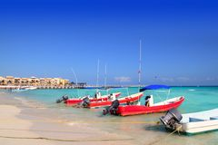 Playa del Carmen mexico Mayan Riviera beach. Boats Caribbean sea Stock Photography