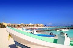 Playa del Carmen mexico Mayan Riviera beach. Boats Caribbean sea Stock Images