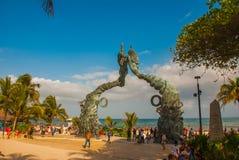 Free PLAYA DEL CARMEN, MEXICO: Portal Maya, Maya Gates At The Entrance To The Beach, A Monument To Men And Women, Riviera Maya. Royalty Free Stock Photos - 116478198