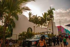 PLAYA DEL CARMEN, MEXICO, Riviera May, Plaza Mayor: The Catholic Church on the background of palm trees.  stock photos
