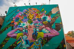 Playa del Carmen, Mexico, Riviera Maya: Facade of the building with beautiful graffiti royalty free stock photos