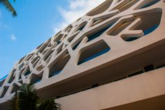 Playa del Carmen, Mexico, Riviera Maya: Facades of hotels against the blue sky.  royalty free stock images