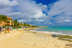 Playa del Carmen, Mexique - 10 janvier 2018 : Une station de vacances des Caraïbes typique chez Playa Del Carmen au Mexique Photos libres de droits