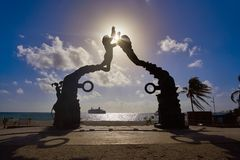 Playa del Carmen Portal Maya sculpture Stock Photography