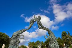 Playa del Carmen Portal Maya sculpture Royalty Free Stock Photos