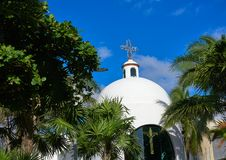 Playa del Carmen white church in Mexico Stock Image