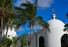 Playa del Carmen white church in Mexico. Mayan riviera Royalty Free Stock Photography