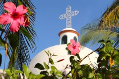 Playa del Carmen white Mexican church archs belfry. Mayan Riviera royalty free stock photo