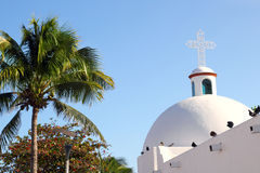 Playa del Carmen white Mexican church archs belfry Stock Photos