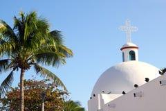 Playa del Carmen white Mexican church archs belfry Stock Photos