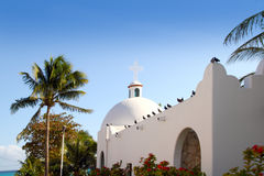 Playa del Carmen white Mexican church archs belfry Stock Images