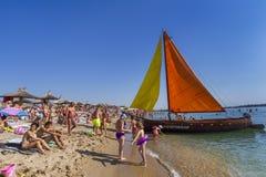 Playa del centro turístico de verano del mar de Neptun Foto de archivo