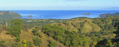 Playa del Coco and Ocotal from Cerro Ceiba. Panoramic view of Playa del Coco and Ocotal on the Pacific from the heights on Cerro Ceiba in Guanacaste, Costa Rica Royalty Free Stock Images