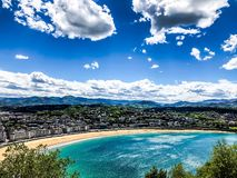 Playa del concha del La en el ¡n de San Sebastià imagen de archivo