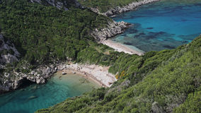 Playa del doble de Oporto Timoni, Corfú, Grecia Imágenes de archivo libres de regalías