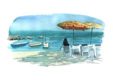 Playa del ejemplo de la acuarela con el objeto aislado colorido de las camas, de los paraguas y de los barcos del sol en el fondo ilustración del vector