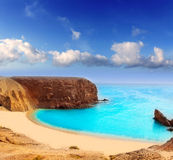 Playa del EL Papagayo Playa de Lanzarote en las Canarias Imagen de archivo