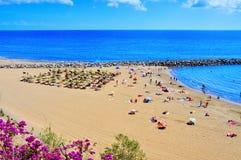 Playa del Ingles海滩在Maspalomas,大加那利岛,西班牙 库存照片