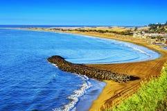 Playa del Ingles beach and Maspalomas Dunes, Gran Canaria, Spain royalty free stock photography