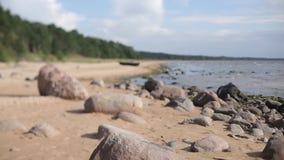 Playa del mar Báltico con las piedras almacen de metraje de vídeo
