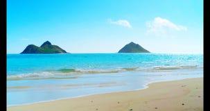 Playa del mar con las ondas 4k metrajes