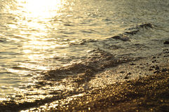 Playa del mar en la puesta del sol Imágenes de archivo libres de regalías