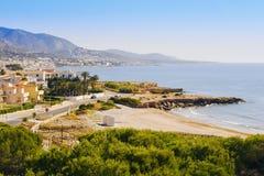 Playa del Moro strand in Alcossebre, Spanje stock afbeelding