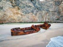 Playa del naufragio de Zakynthos de los acantilados en Spr admitido Grecia fotos de archivo libres de regalías