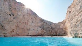 Playa del naufragio, Zakinthos, Grecia imagen de archivo